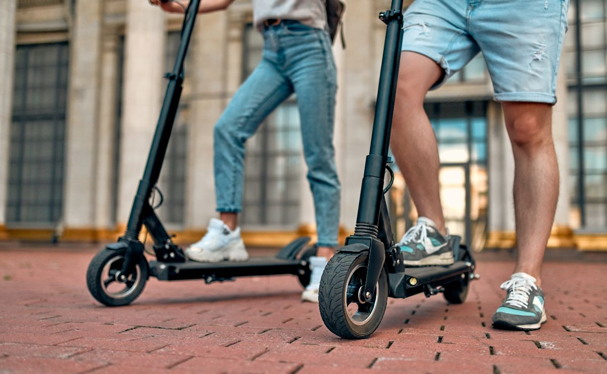 Electric scooters close up