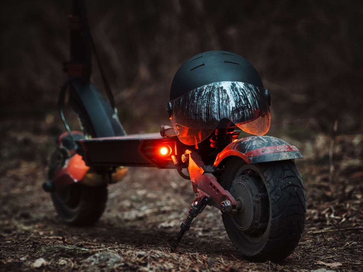 back view of electric scooter with helmet