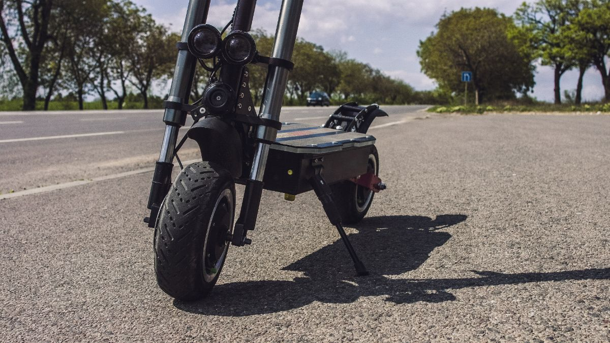 frontal view of electric scooter