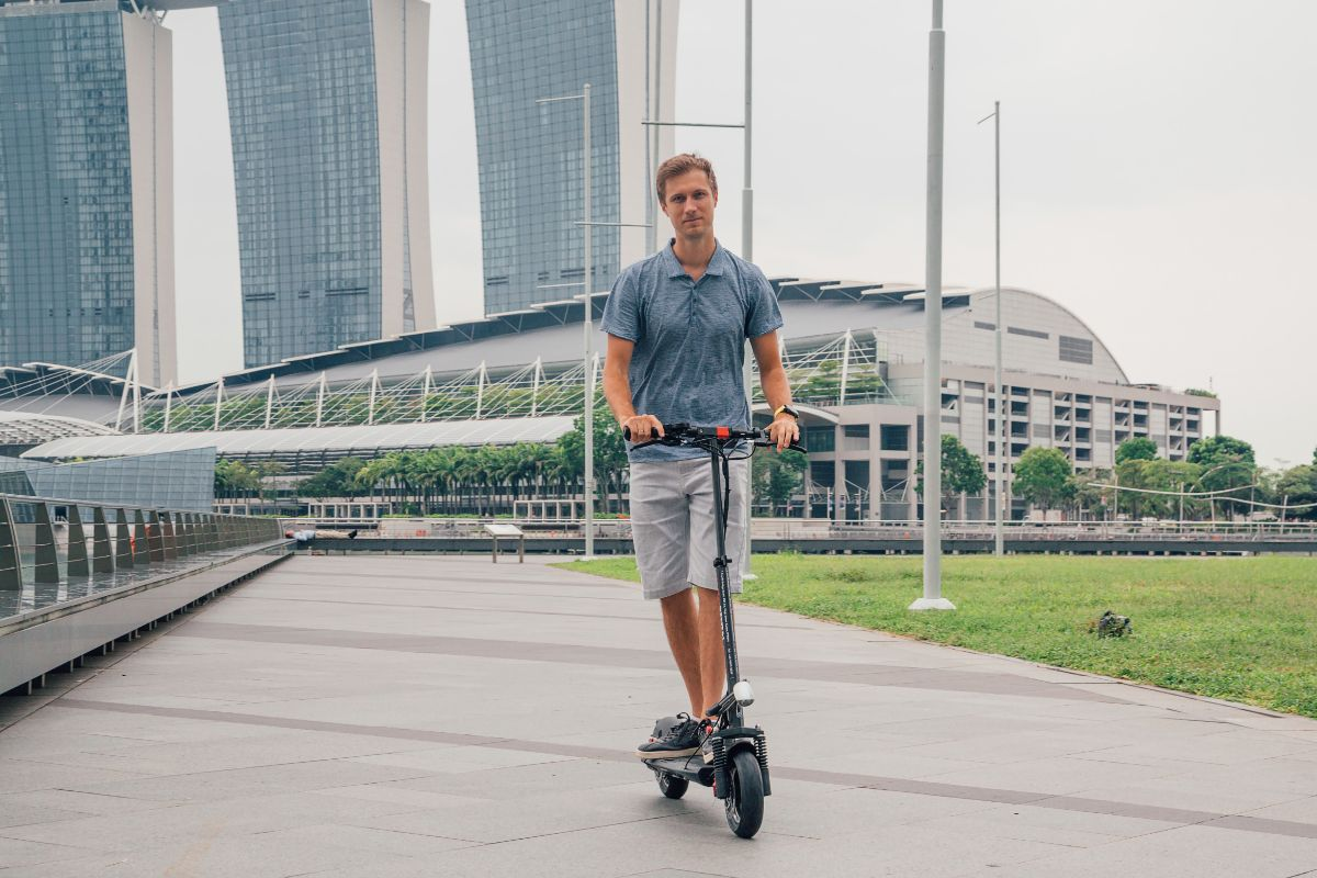 man on his electric scooter